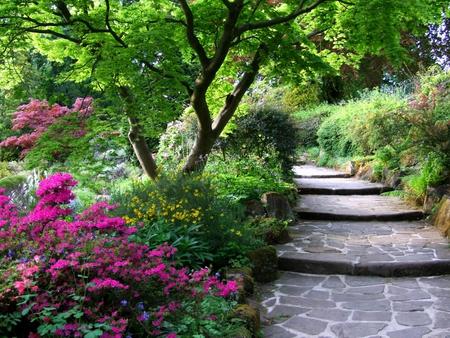stairs in the spring garden - stairs, garden, spring