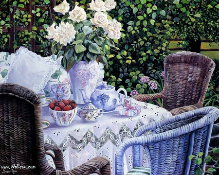 Tea time - pillow, present, vase, wicker chair, tea cups, tablecloth, gift, fruit, teapot, saucers, flowers, strawberries, garden, bowl