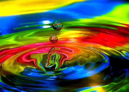 Technicolor Dream Pool  - red, cg, black, yellow, abstract, 3d, water, green, color, muticolored, blue