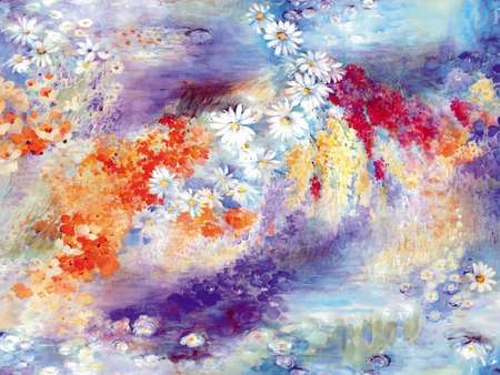 Colorful flowers - paint, drawing, flowers, chamomile, color