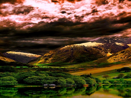 BREATHTAKING SCENERY - hills, rocky, skies, rock, lake, weird, trees, reflection, clouds, field