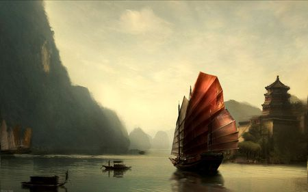 fantasy ships - ships, water, fantasy, kingdom