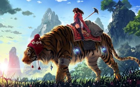 Old Battle Tiger  - sky, nice, anime, mountains, trees, tiger, beautiful, cool, girl