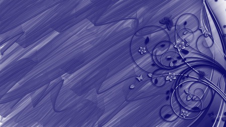Abstraction in Blue - flowers, butterfly, firefox persona, vines, navy, nature, brush