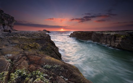 HEAVENS GATE - sunrise, sunset, skies, ocean, peaceful, sky, nature, beautiful, cliffs, sea, calm, calming