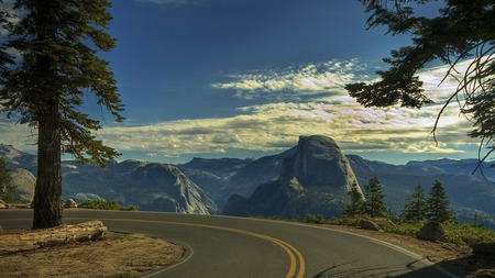 Road To Mountains - peaceful, half dome, sunrise, clouds, view, landscape, sky, sunset, lookout, splendor, beautiful, mountains, road, trees, nature, tree