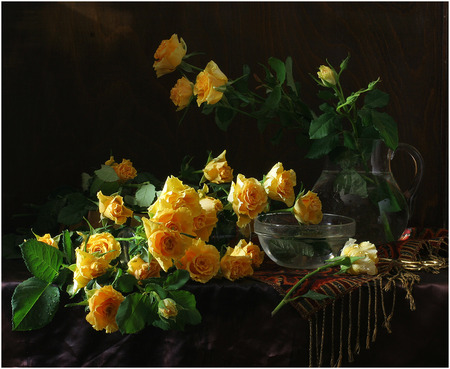 Yellow roses - table, clear, stems, pitcher, yellow, beautiful, tablecloth, roses, still life, leaves, water, jug, flowers, bowl