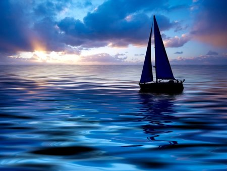 Sailing at sunset - ocean, sunset, sky, clouds, personal boats, sail, boats, water, evening, sailboats