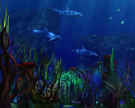 3D Dolphins - ocean, animals, art, dolphins, 3d