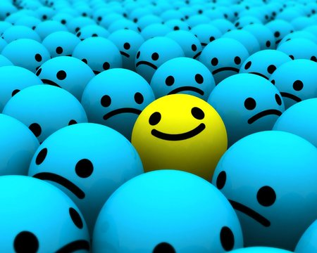 Different - happy face, smiley, different, yellow, abstract, happy, sweet, cute, 3d, blue