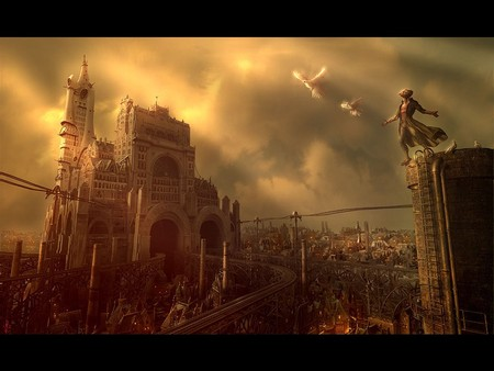 Steampunk Landscape - steampunk landscape, landscape, 3d and cg, its so cool, graphics, steampunk, george grie, neosurrealimart