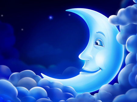 Crescent - crescent moon, beautiful, adorable, clouds, fantasy, moon, in, plastic, star, light, blue, night, lovely, effect, smile, peter, sky, cute, moonlight, crescent, virtual