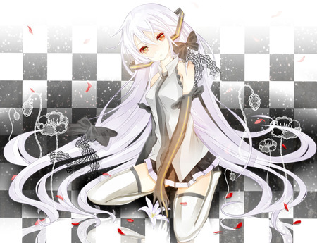 Miku Hatsune in white by Request - vocaloid, black, lolita, laces, fan art, checkerboards, flowers, white, tiles