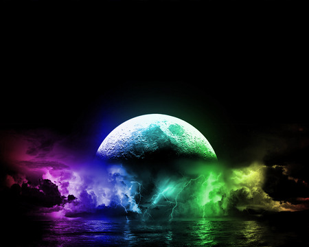 COLORS OF THE MOON - colors, sky, clouds, moon, water, lightning, green, purple, planet, colours, reflection, blue, night