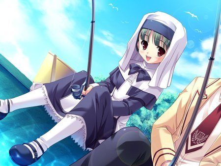 Girl fishing - dress, fishing, girl, anime, cute