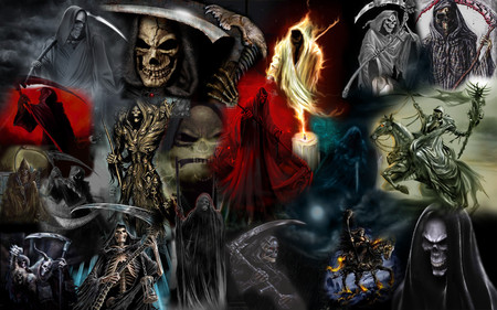 Grim Reapers - skull, grim reaper, death, scary, dark, skeleton, horror, weapon, evil