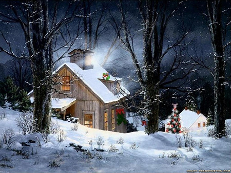 Snowy christmas cabin - forest, wreath, christmas tree, woods, beautiful, cabin, trees, lights, windows, snow, painting, smoke, white, branches, chimney