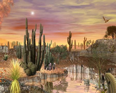 Desert Art - cactus, sky, art, desert, sun