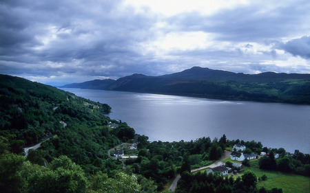 Loch Ness - inverness, highlands, trees, clouds, lake, loch, nessie, blue sky, scotland, ness