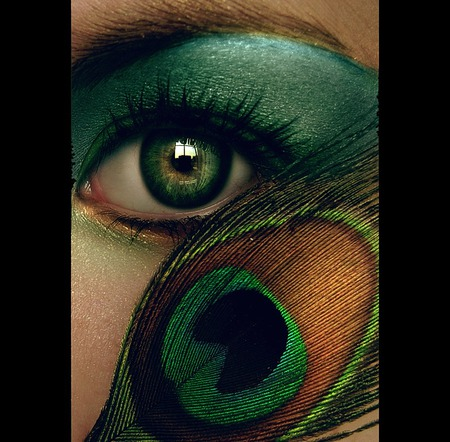 Peacock eye - art, lady, 3d, green, abstract, eyes