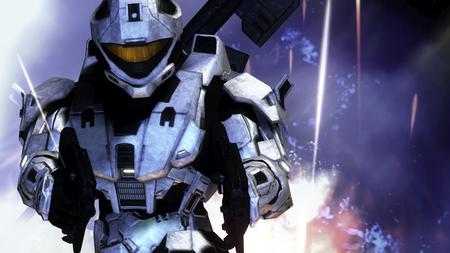 Halo 3 White Knight 2 smg - slayer, recon helmet, sniper, multi player, white spartan, smg, halo 3