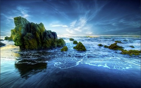 Peaceful Beach - beauty, blue, wave, sea, beach, rocks
