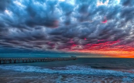 You Are Everything - blue, clouds, sky, bridge, wave, sea, ember