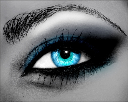 Blue Eye - cool, eye lash, colour, blue, sensual, eye, eyes, anime, diamond, woman, beautiful, sparkling