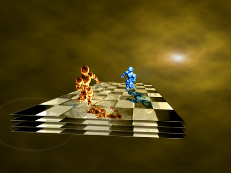 Fire and Water playing chess