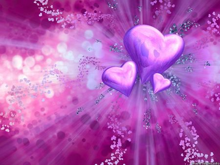 Hearts  of Love - valentines day, explosion, abstract, enduring, hearts, purple, love, passion, color, 3dandcg