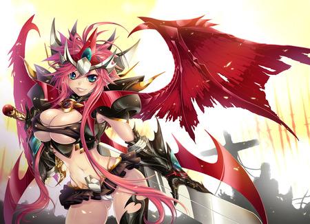 Demon Goddess - sexy, wings, blade, gauntlet, girl, steel, red, angel
