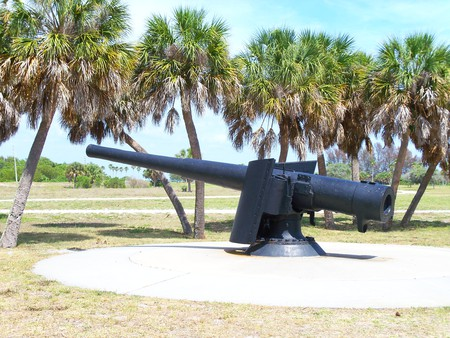 ~Egmont Key Cannon~Fort De Soto, Florida~ - war, grass, park, cannon, sky, palm trees, florida, cool, gun, foilage, nature, history