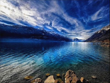 BLUE MOUNTAINS WITH CLOUDS - stones, water, rocks, blue, clouds, mountains, lake, skies