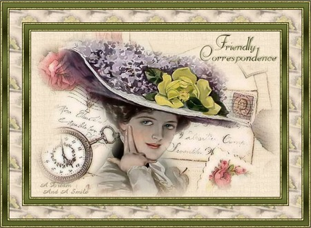 The Letter - pretty, correspondence, watch, victorian, flowers, lady, letter, hat
