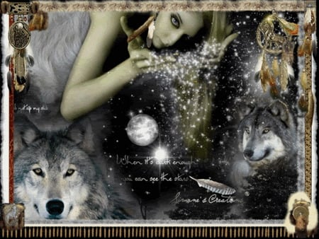 native - stars, wolf, woman, dark
