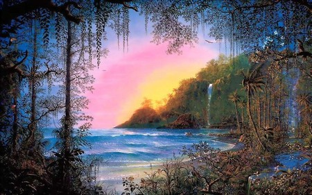 FANTASY ISLAND - sunset, ocean, jungle, waves, beach