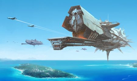 The Carrier - planet, ocean, carrier, futuristic, island, jet, sea