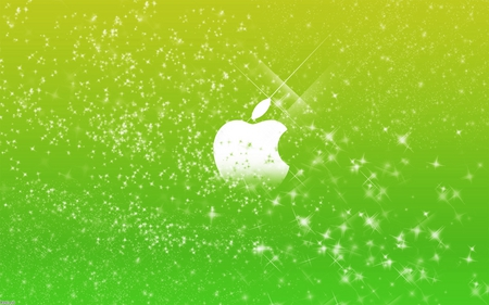 apple green stars - silver, shiney, technology, 3d, dark, mac, stars, colors, green, system, apple