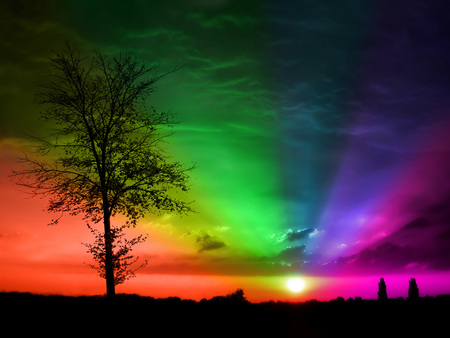 Rainbow Sunset - rainbows, art, sunset, abstract, rainbow, digital, nature