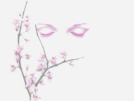 Tranquility - pink, art, paintings, people, abstract, flowers, digital, peace