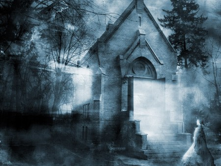 Sacrifice - foggy, dark art, graphics, church, fog, hazy, fantasy, spooky, gothic, dark, myth, mythtic