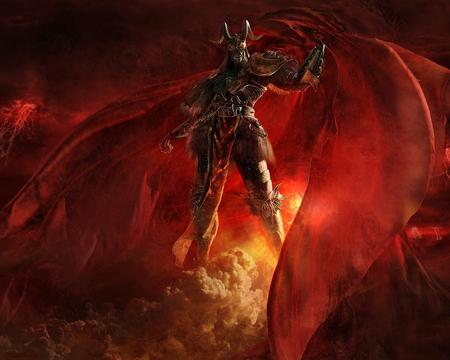 Demoniac - red, art, dark art, china, graphics, artwork, demon, fantasy, dark, diablo, devil, allen wei ming