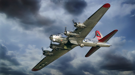 B 17G Flying Fortress Yankee Lady - world, boeing, yankee lady, clouds, b-17g, wallpaper, wwii, 1080p, b 17, 1920 x 1080, classic, bomber, war, b-17, ww2, flying fortress, antique, airplane, 1080i, plane, Entropy, flying, fortress, b17