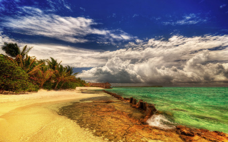 Beautiful... - colorful, ocean, peaceful, white, relax, tree, waves, tropical beach, holiday, hdr, paradise, sea, palms, blue, sky, colors, splendor, water, summer, sand, nature, exotic, trees, hut, beauty, beautiful, lovely, tropical, clouds, green, beach, view