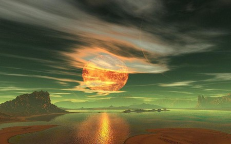 MOON ON FIRE - ocean, sky, water, sand, mountains, moon fire, orange, clouds, planet, moon, green