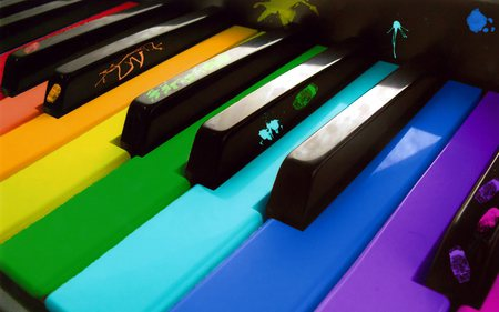 The Art of Music - art, colors, paint, keys, music, piano, rainbow