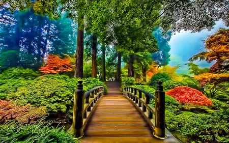 Bridge Of Prosperity - autumn, bridge, rails, trees, nature, misty, yellow, beauty, orange, green, bushes, landscape, garden