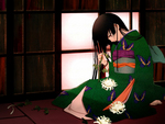 sad girl,green kimono