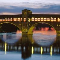 Covered Bridge Over The Ticino River