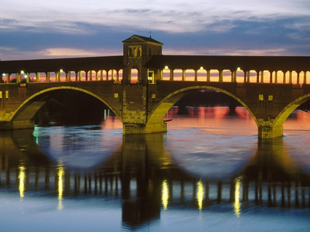 Covered Bridge Over The Ticino River - quality, high, background, covered, roma, in, bridge, skyline, wallpaper, ticino, the, river, over, italy
